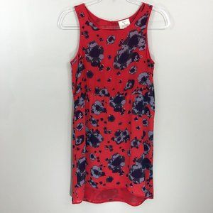 Pins and Needles Red Floral Chiffon Dress XS